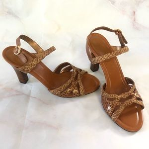 Cole Haan Gold and Camel Tan Sandals